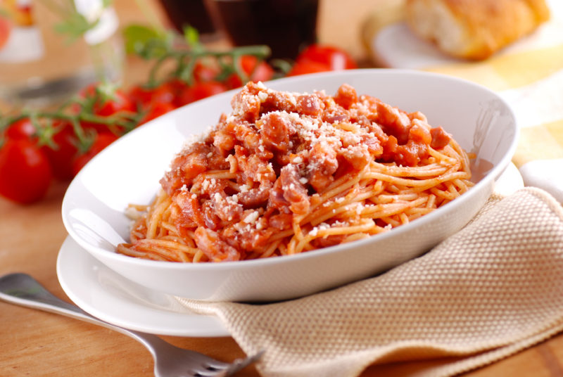 Spaghetti all'amatriciana (red sauce with bacon)
